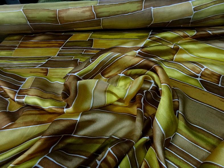 Twill de soie motif graphique vintage teintes automne 2
