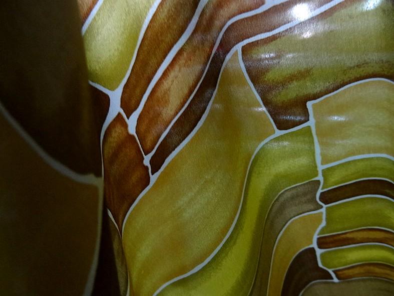 Twill de soie motif graphique vintage teintes automne 6