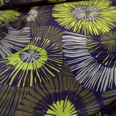 Twill de soie violet fleurs geantes anis et kaki 2