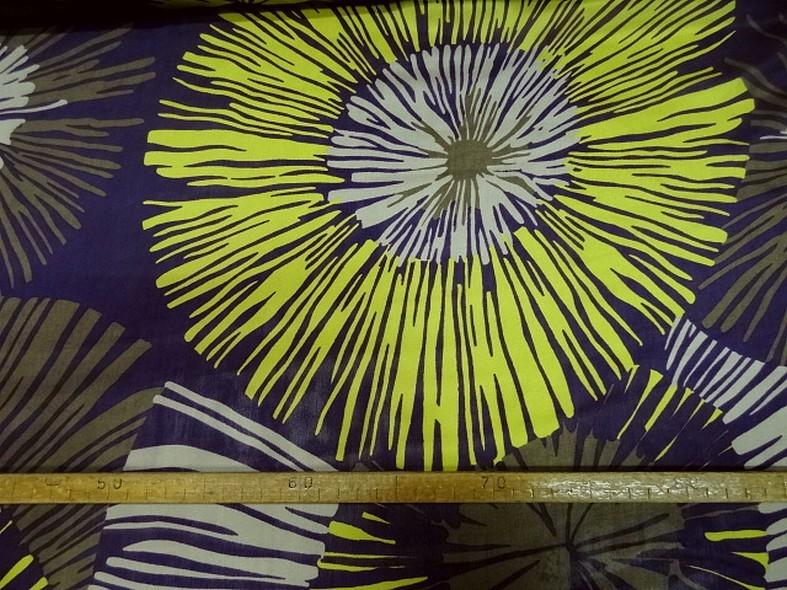 Twill de soie violet fleurs geantes anis et kaki 3
