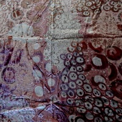Velours de soie dévoré beige rose indien 01