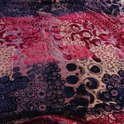 Velours de soie dévoré fuschia violet 01