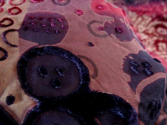 Velours de soie dévoré fuschia violet 03