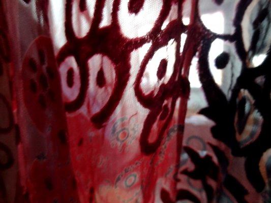 Velours de soie dévoré fuschia violet 04