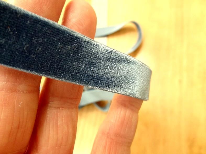 Velours elastique plat bleu petrole 15 mm 1