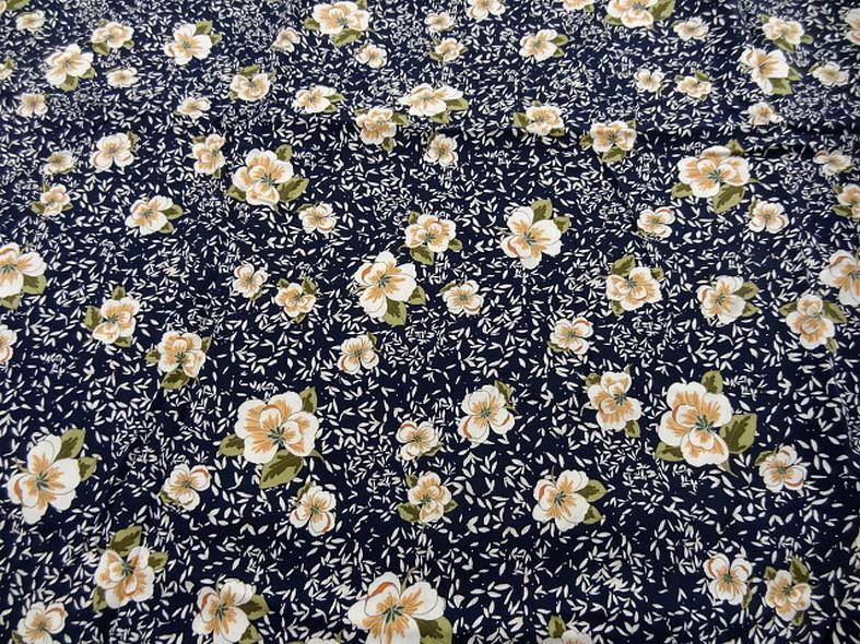 tissu viscose bleu nuit fleurs kaki et saumon