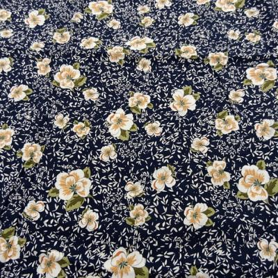 Viscose bleu nuit fleurs kaki et saumon 2