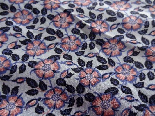 Viscose coton bleu fleuris rose 003