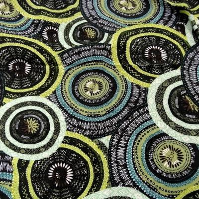 Viscose coton motif africain noir et anis 1