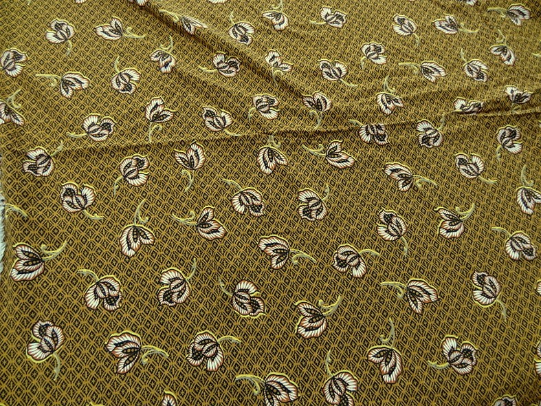 Viscose coton ocre motif africain 1