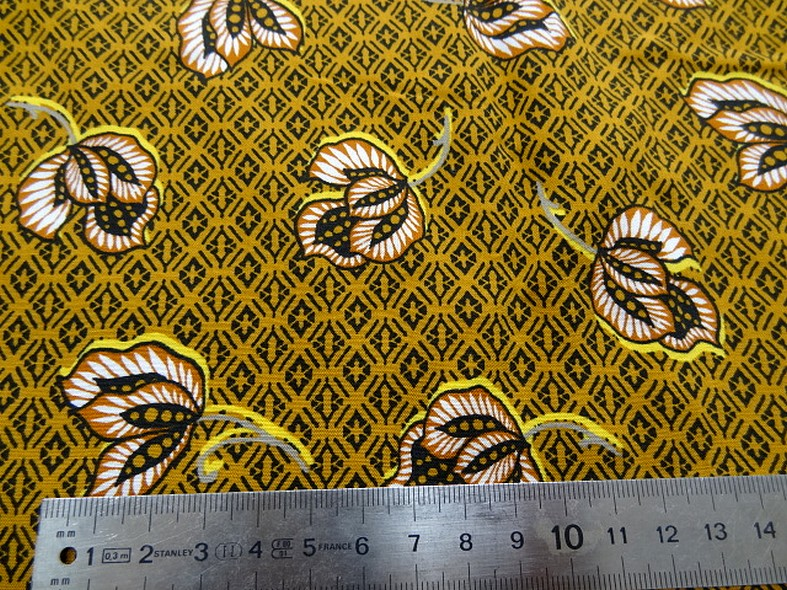 Viscose coton ocre motif africain 2