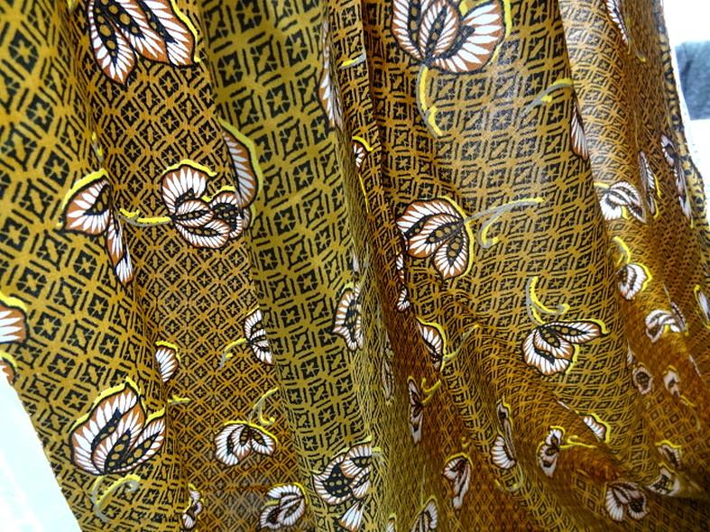 Viscose coton ocre motif africain 4