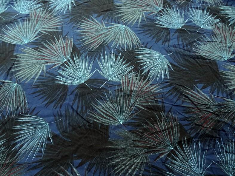 Viscose fond bleu cobalt motif papyrus 1