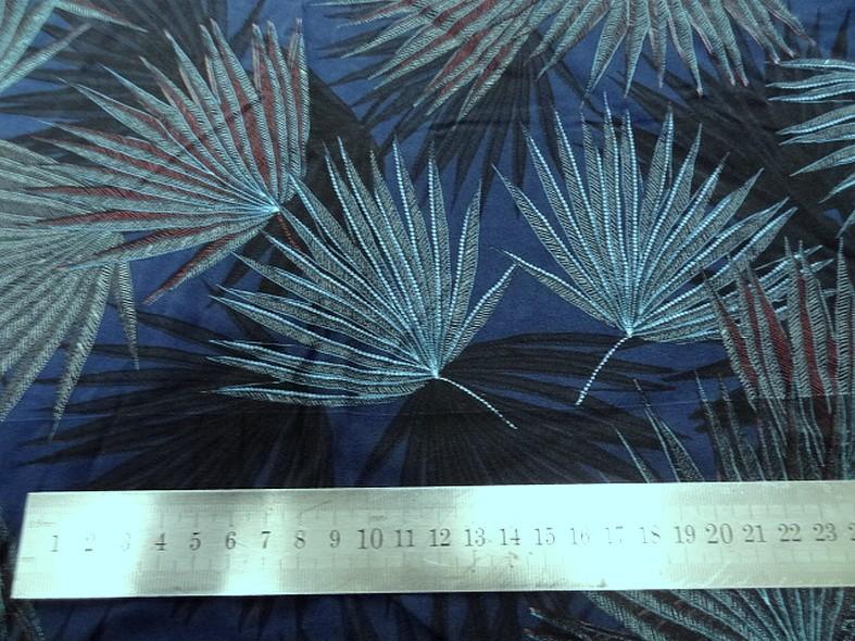 Viscose fond bleu cobalt motif papyrus 2