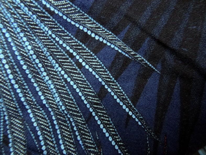 Viscose fond bleu cobalt motif papyrus 4