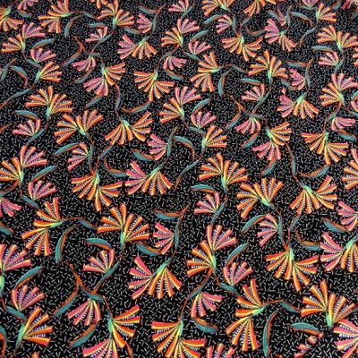Viscose fond noir imprime fleuri multicolore 3