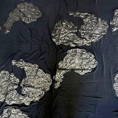 Viscose lycra soie noire motif cachemire 1