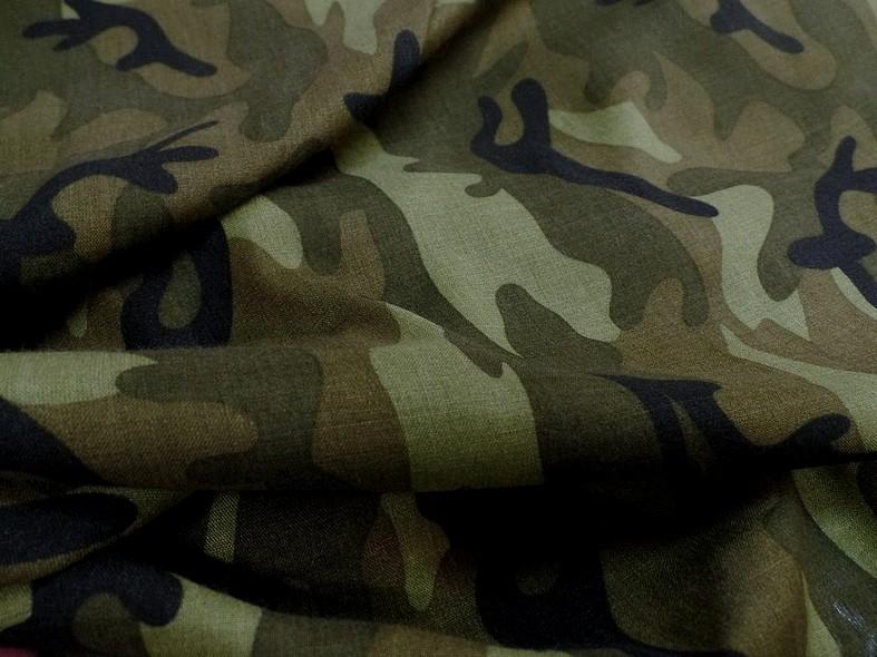 Viscose motif camouflage kaki 1