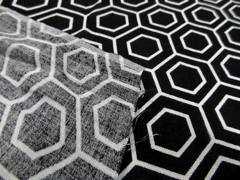 Viscose noir motif hexagone blanc 3