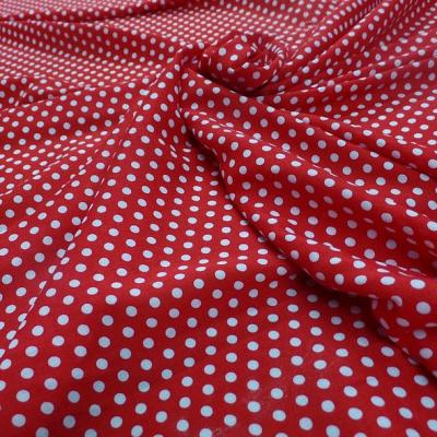 Viscose rouge pois blancs pin up 1