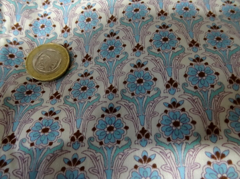 Viscose satinee motifs art deco bleu celeste 3