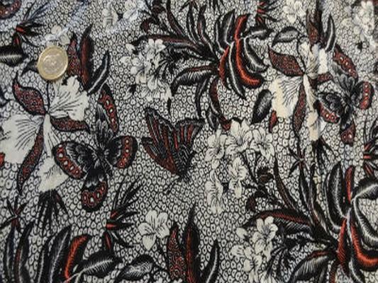 Viscose coton fleur papillon tribal 02