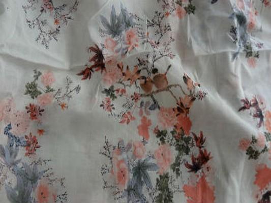Voile coton chair fleurs 04