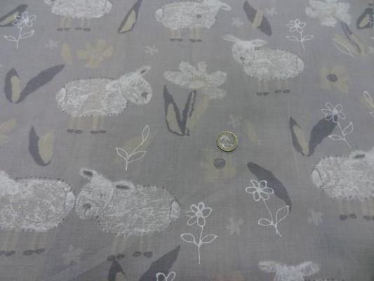 Voile coton gris clair imprimé moutons 4