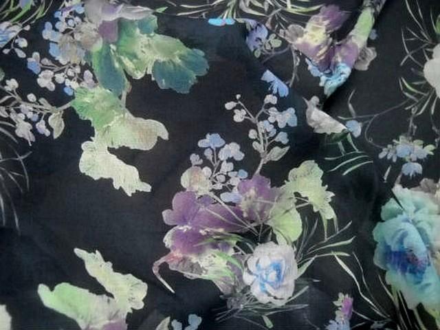 Voile coton gris noir fleurs doux pastel 3