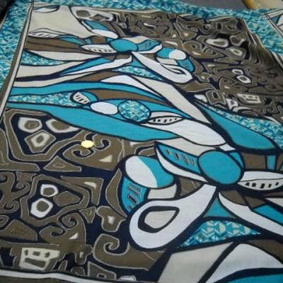 Voile coton motif peinture ethnique abstraite 1