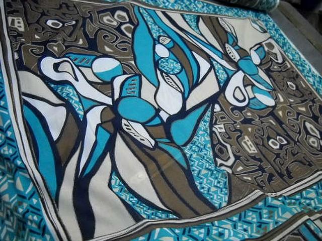 Voile coton motif peinture ethnique abstraite 2