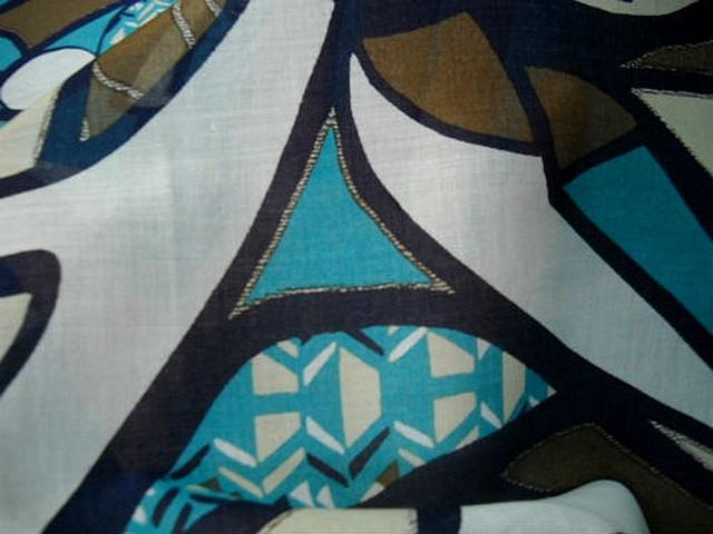 Voile coton motif peinture ethnique abstraite 3