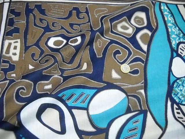 Voile coton motif peinture ethnique abstraite 4