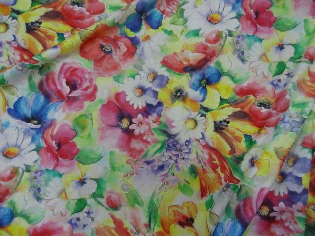 Voile coton soie fleurs fond blanc 1 2