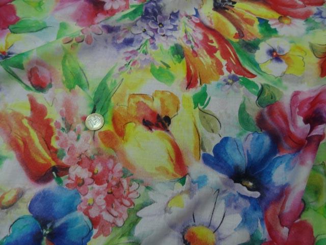Voile coton soie fleurs fond blanc 1 3