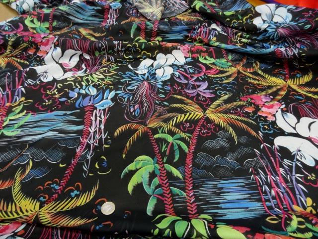 Voile coton soie noir palmiers 1