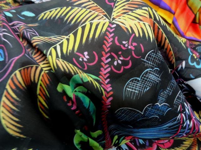 Voile coton soie noir palmiers 3
