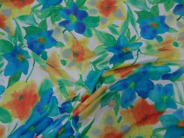 Voile de coton aquarelle de fleurs
