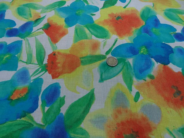 Voile de coton aquarelle de fleurs 1