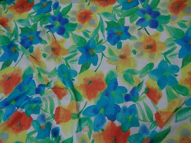Voile de coton aquarelle de fleurs 2
