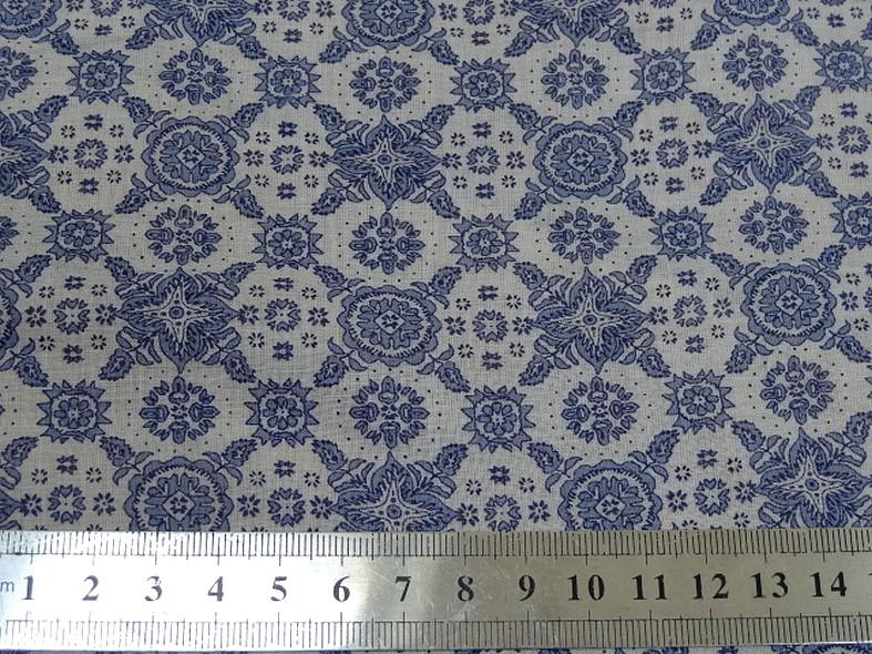 Voile de coton blanc motif bleu type provence 1