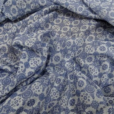 Voile de coton blanc motif bleu type provence 4