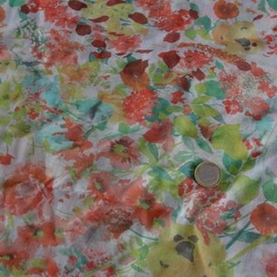 Voile de coton fleuri pistache capucine 2