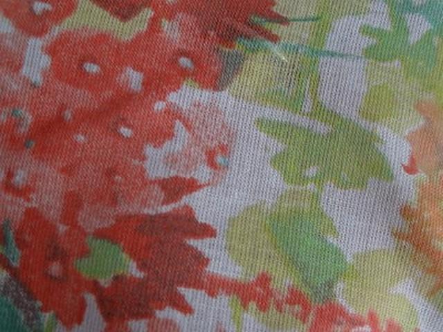Voile de coton fleuri pistache capucine 4
