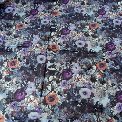 Voile de coton fleuri violet et lavande 1