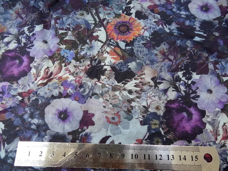 Voile de coton fleuri violet et lavande 2