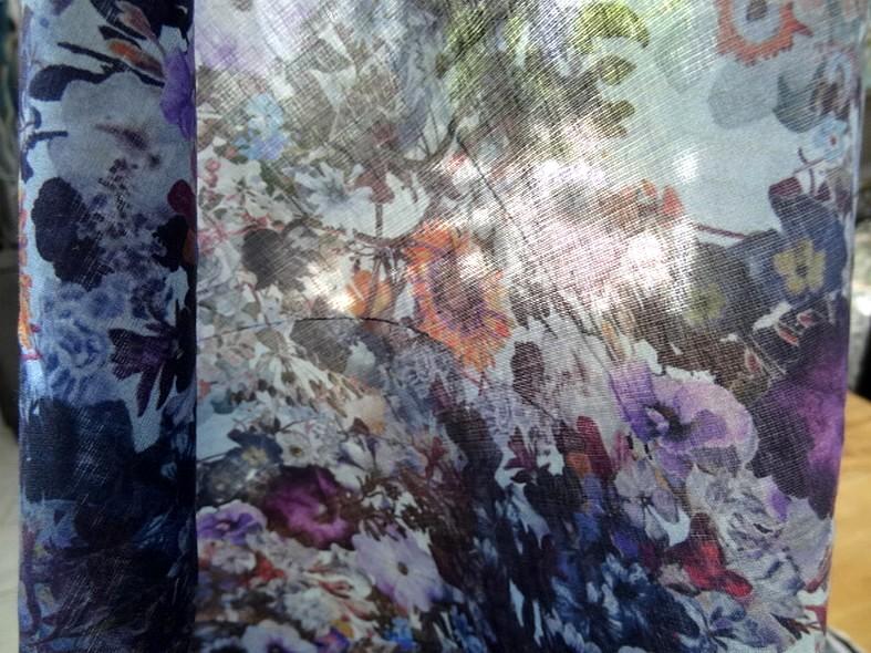 Voile de coton fleuri violet et lavande 3