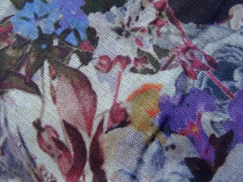 Voile de coton fleuri violet et lavande 4