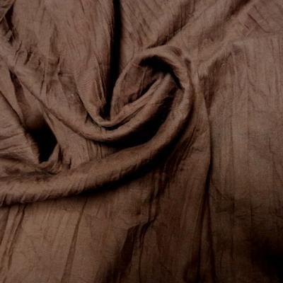 Voile de coton froisse plisse acajou 1