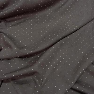 Voile de coton melange taupe clair pois blanc 0 4